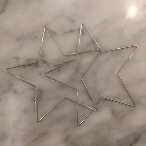 NWT, Gold or Silver plated Star hoop earrings